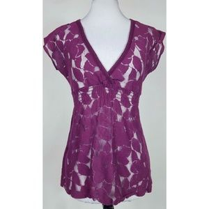 Eyeshadow Purple Sheer Floral Lace Top M